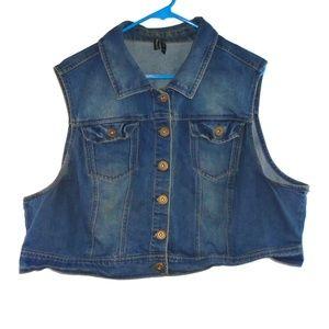 Denim Jean Crop Jacket Vest 3X Button Down Blue